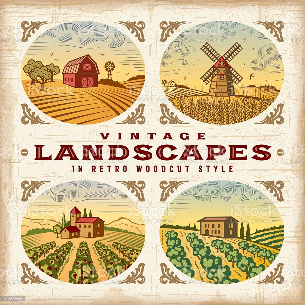 Vintage colorful landscapes set vector art illustration
