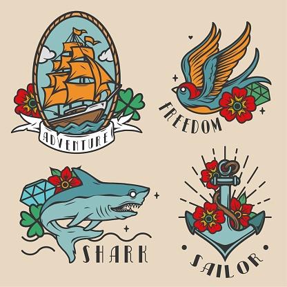 Vintage colorful marine labels