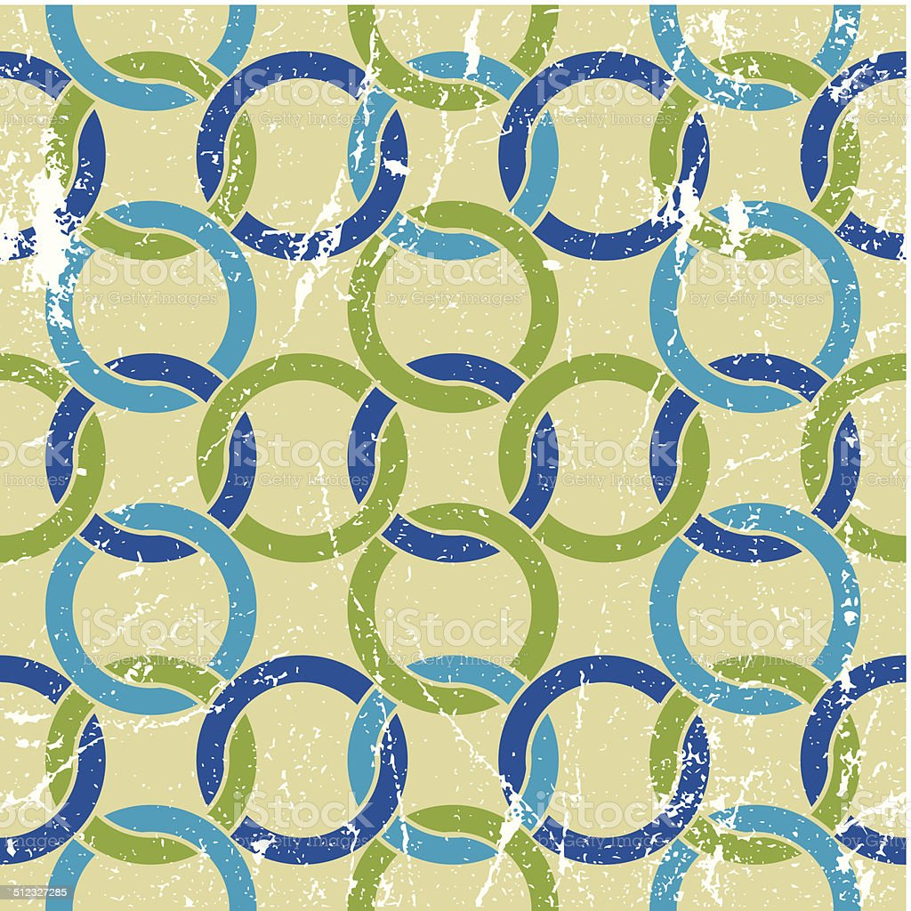 Vintage colorful seamless pattern with interlace circles vector art illustration