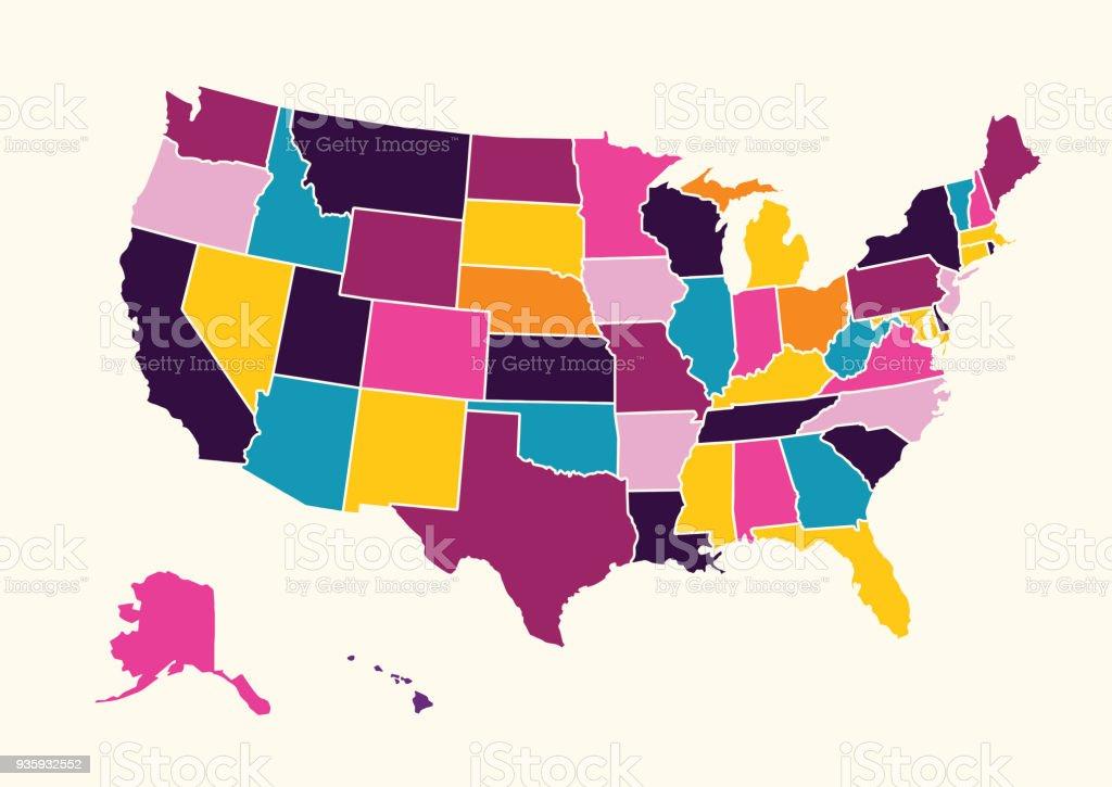 Amerika Karte Staaten.Vintage Bunte Vereinigten Staaten Von Amerikakarte Stock