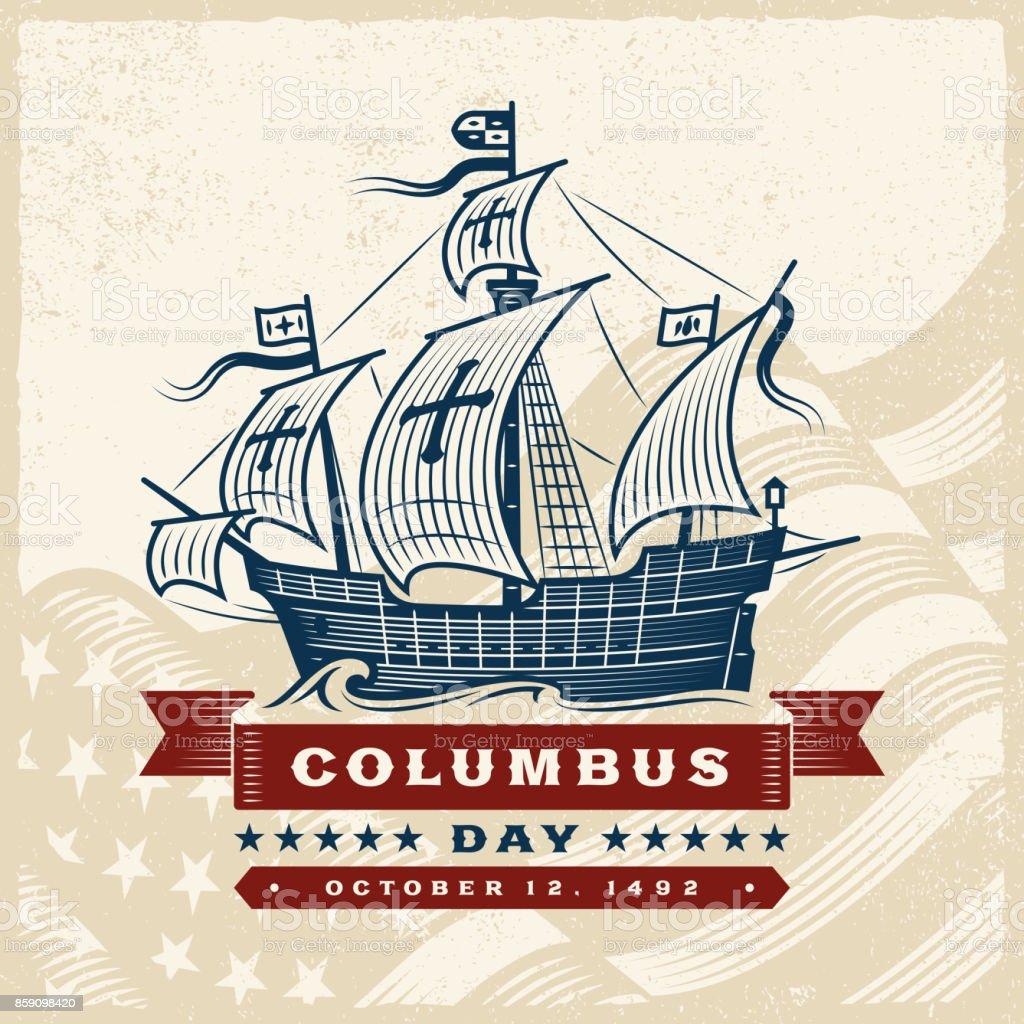 Vintage Columbus Day Label