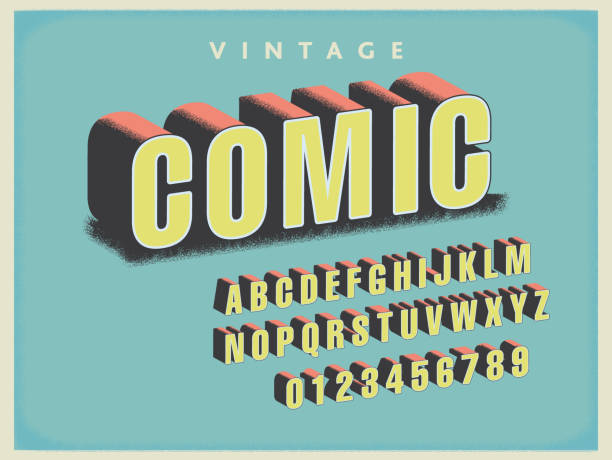ilustraciones, imágenes clip art, dibujos animados e iconos de stock de conjunto de alfabeto de fuentes vintage comic book - font