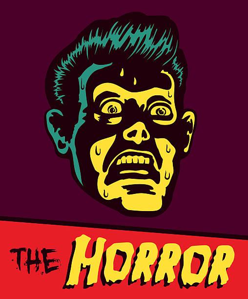 vintage ilustracja komiks struchlały człowiek z, zszokowana twarz wyrażenie - horror stock illustrations