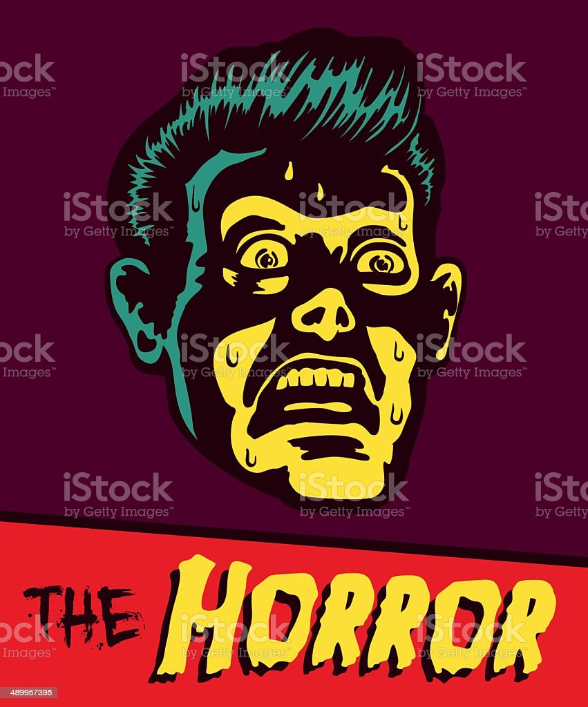 Vintage comic book illustration terrified man with shocked face expression vector art illustration