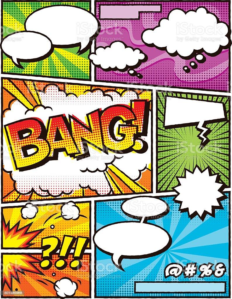 Plantilla de diseño retro cómic - ilustración de arte vectorial