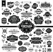 A complete set of vintage styled badges and labels with sale guarantees, premium qualities and more. EPS 8 file, no transparencies, layered.