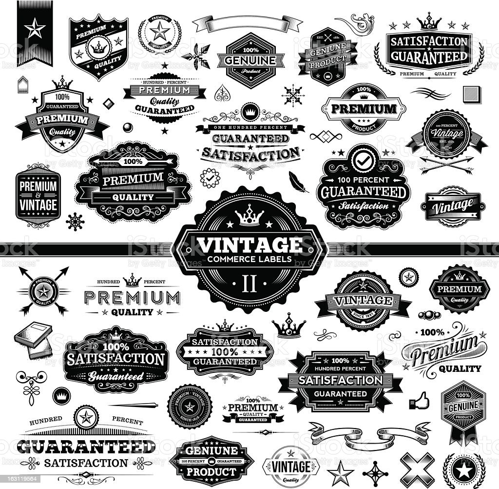 Vintage Commerce Labels - Complete Set 2 vector art illustration