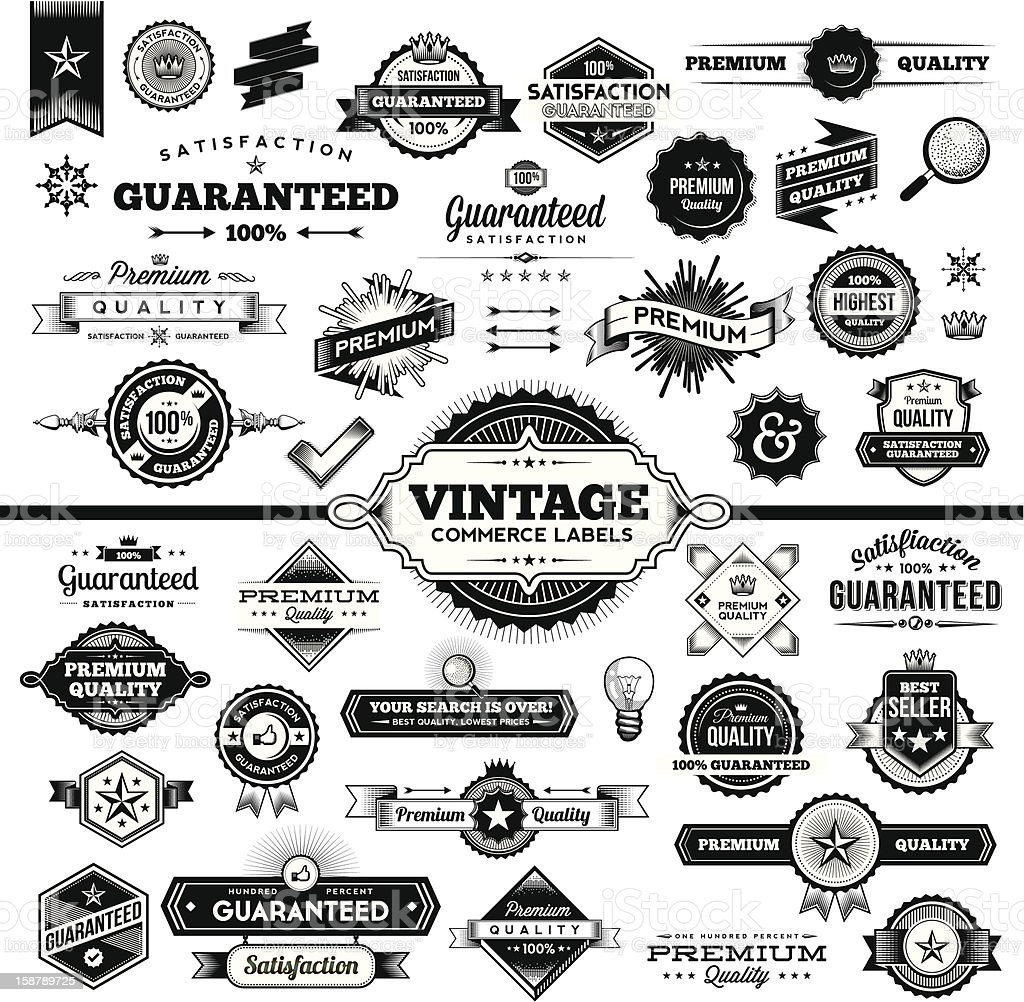 Vintage Commerce Labels - Complete Set vector art illustration