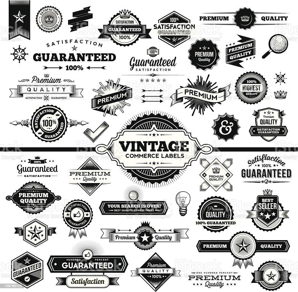 Vintage Commerce Labels - Complete Set vector art illustration
