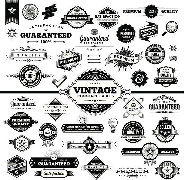 vintage commerce labels - complete set - 1950s style stock illustrations, clip art, cartoons, & icons