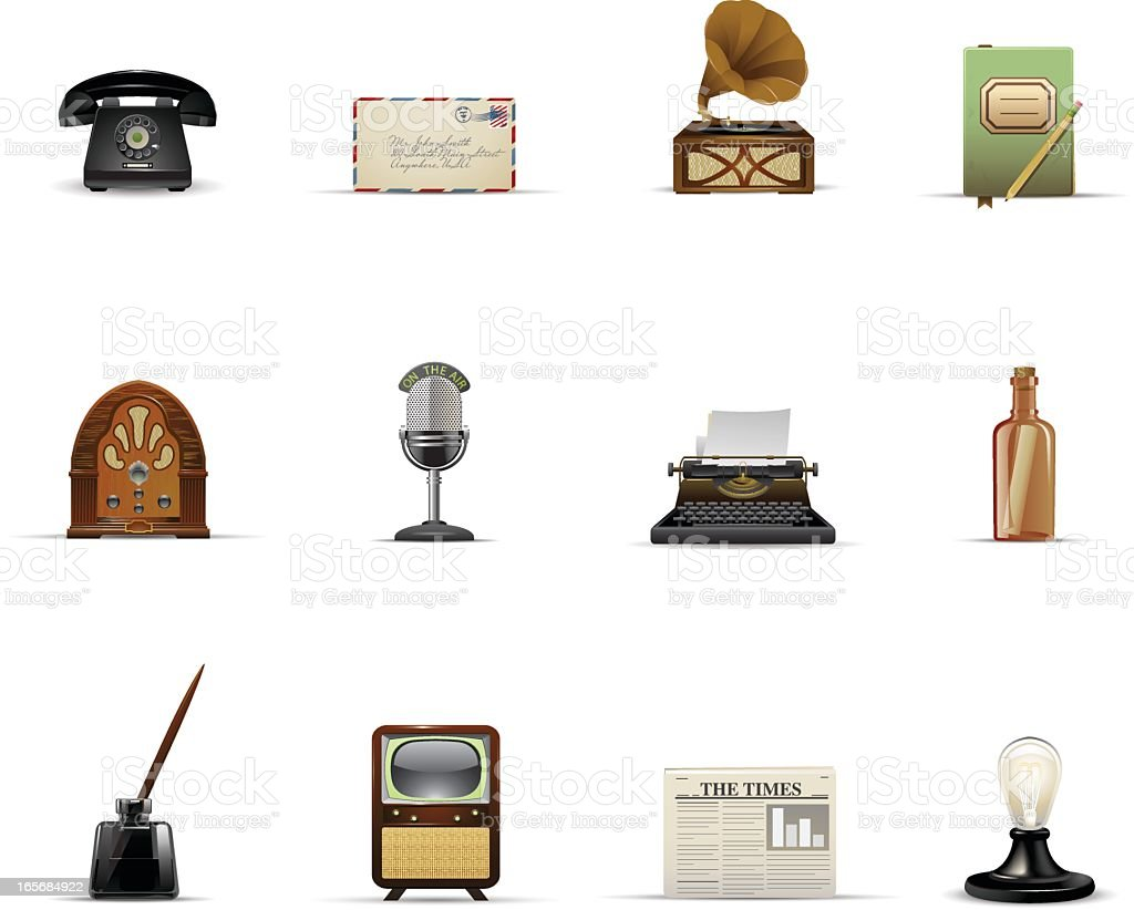 Vintage Communication and Media vector art illustration