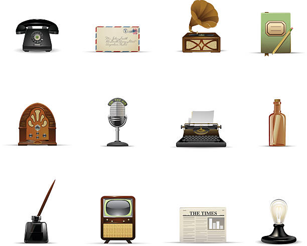 vintage communication and media - 1940s style stock illustrations
