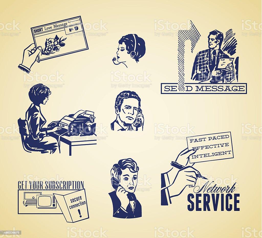 Vintage communication illustration set vector art illustration