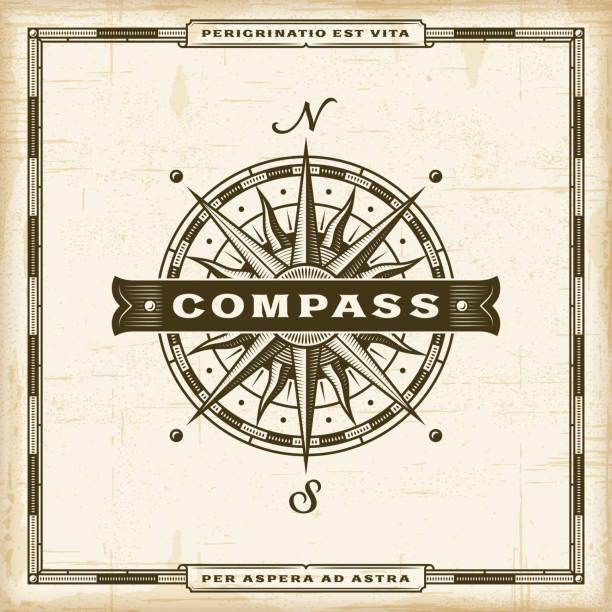 ilustrações de stock, clip art, desenhos animados e ícones de vintage compass label - compasso