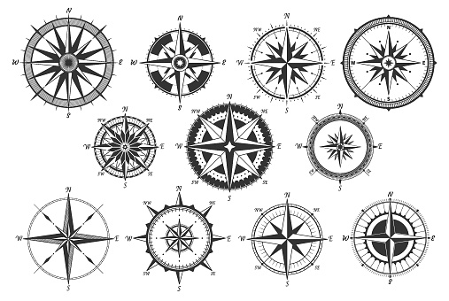Vintage compass. Nautical map directions vintage rose wind. Retro marine wind measure. Windrose compasses vector icons