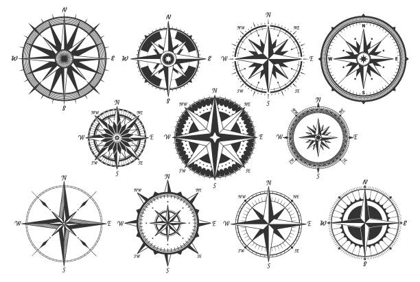 vintage compass. nautical map directions vintage rose wind. retro marine wind measure. windrose compasses vector icons - compass stock illustrations