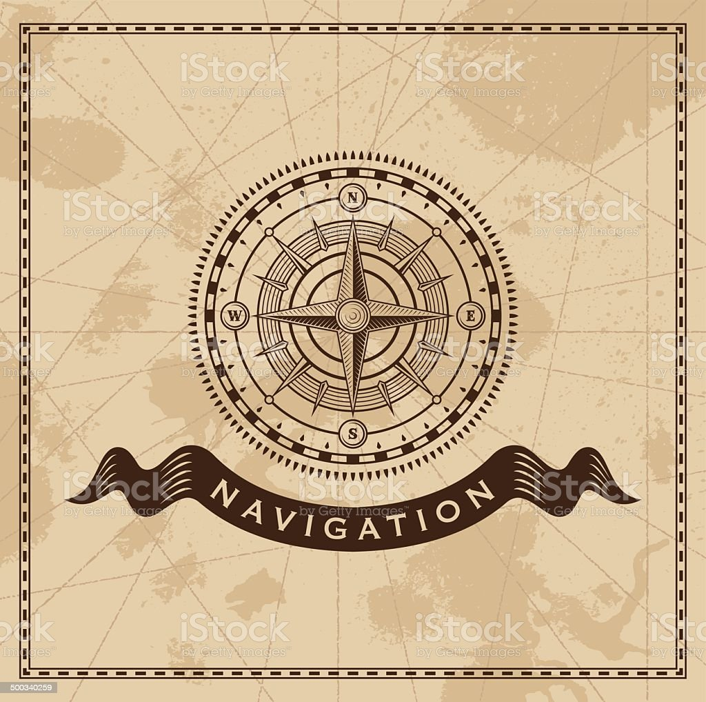 Vintage compass rose - old map vector background vector art illustration