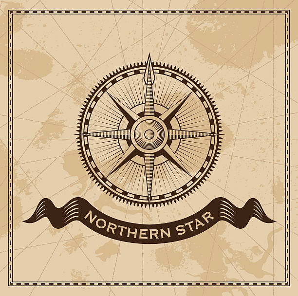 vintage compass rose - old map vector background - treasure map backgrounds stock illustrations
