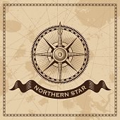 Vintage compass rose - old map vector background
