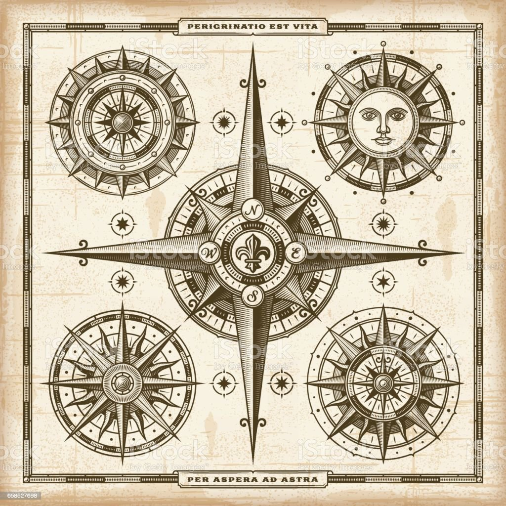 Vintage Compass Roses Set vector art illustration