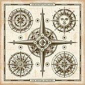Vintage Compass Roses Set