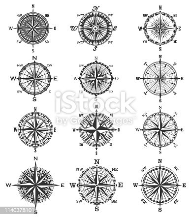 Compass symbols and signs, isolated vector marine navigation elements. Rose of wind heraldic monochrome signs with world sides, north and south, west and east. Geography and cartography, map