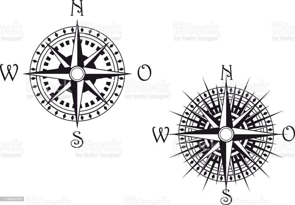 Vintage Compass Symbols Stock Vector Art More Images Of Adventure