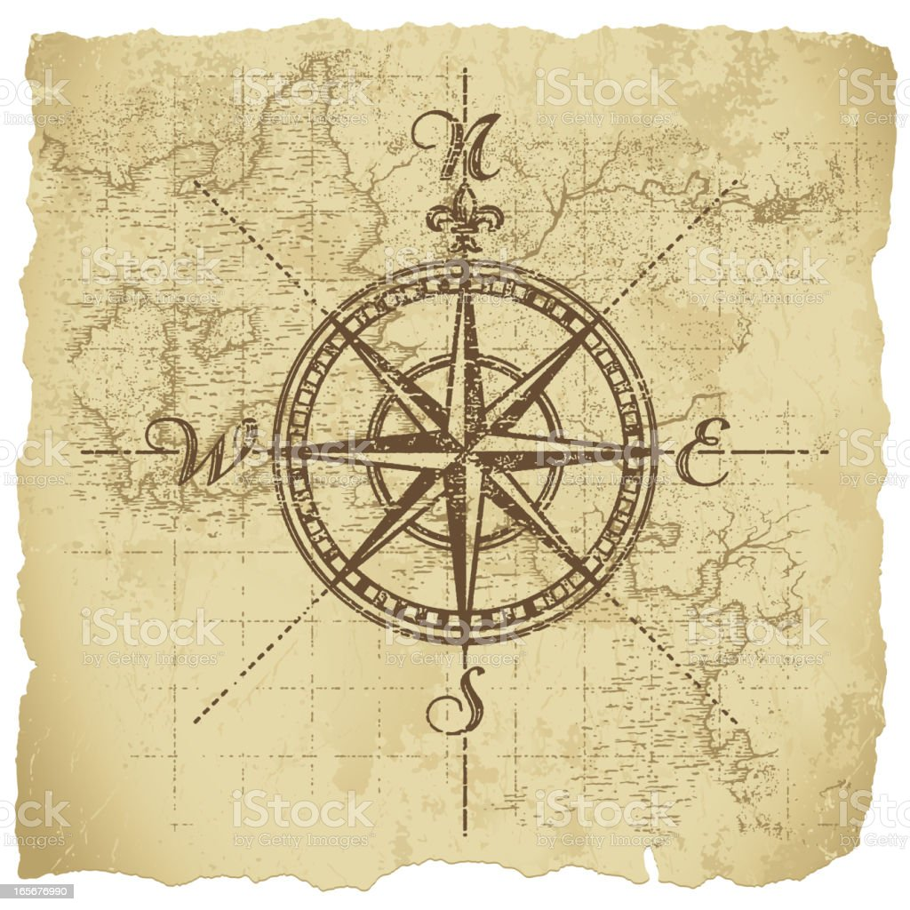 Vintage Compass vector art illustration
