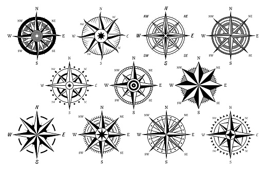 Vintage compass. Windrose antique compasses nautical cruise sailing symbols, sea travel marine navigation map element vector icons set