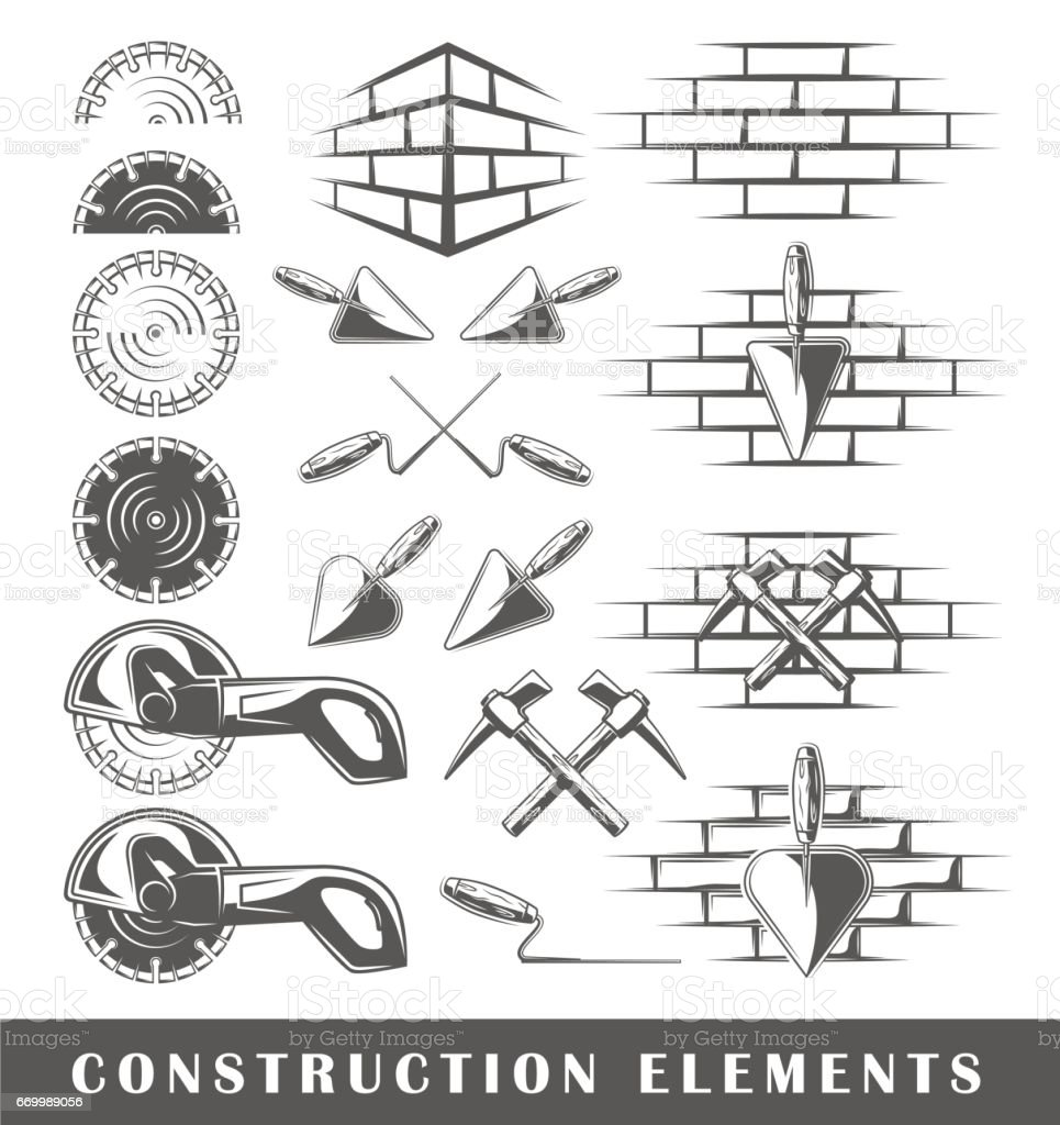 Vintage construction elements vector art illustration