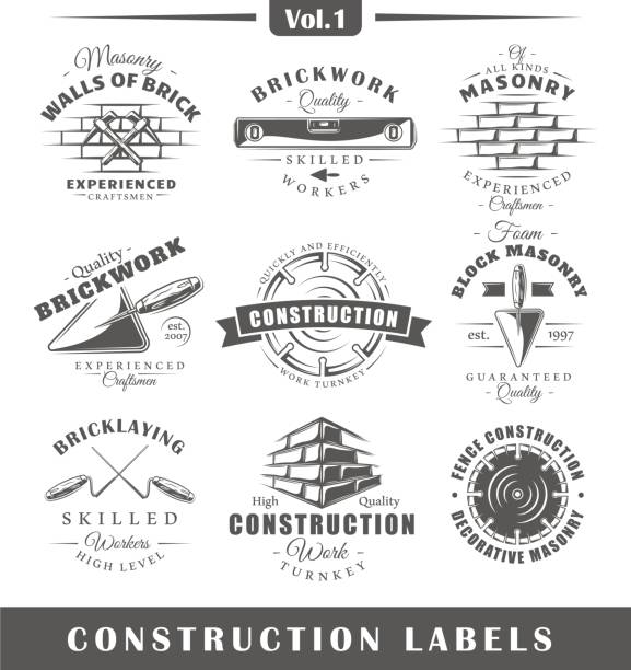 vintage construction labels - carpenter stock illustrations, clip art, cartoons, & icons