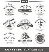 Vintage construction labels