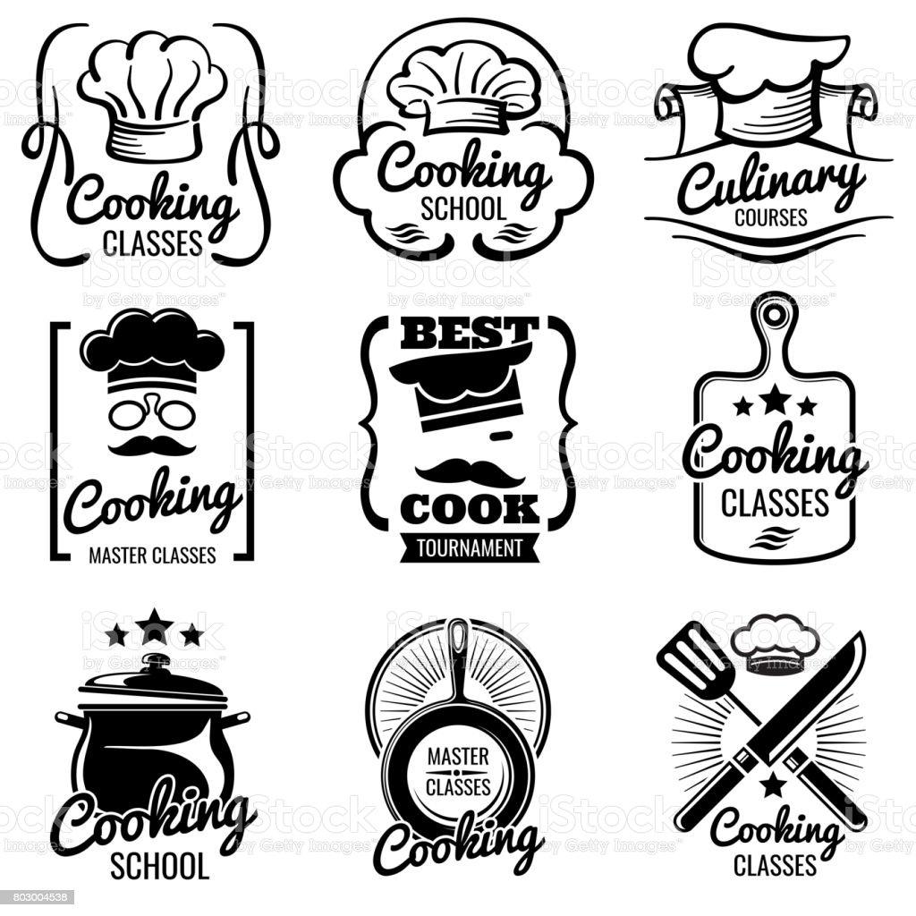 Kochen In Der Küche Klassen Vektor Silhouette Etiketten Jahrgang ...
