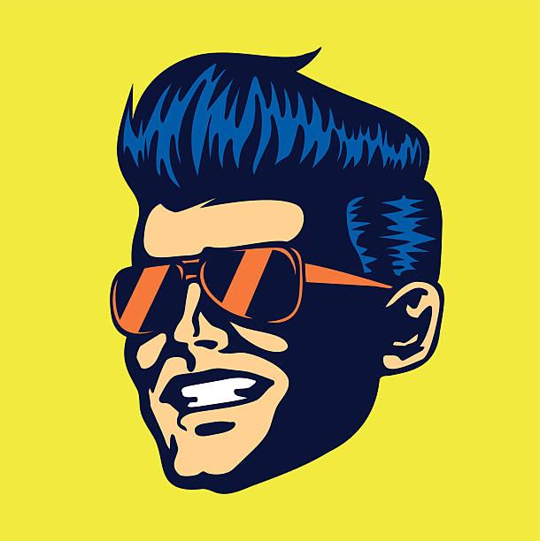 illustrazioni stock, clip art, cartoni animati e icone di tendenza di vintage cool dude uomo viso occhiali da sole aviator rockabilly taglio - uomini giovani
