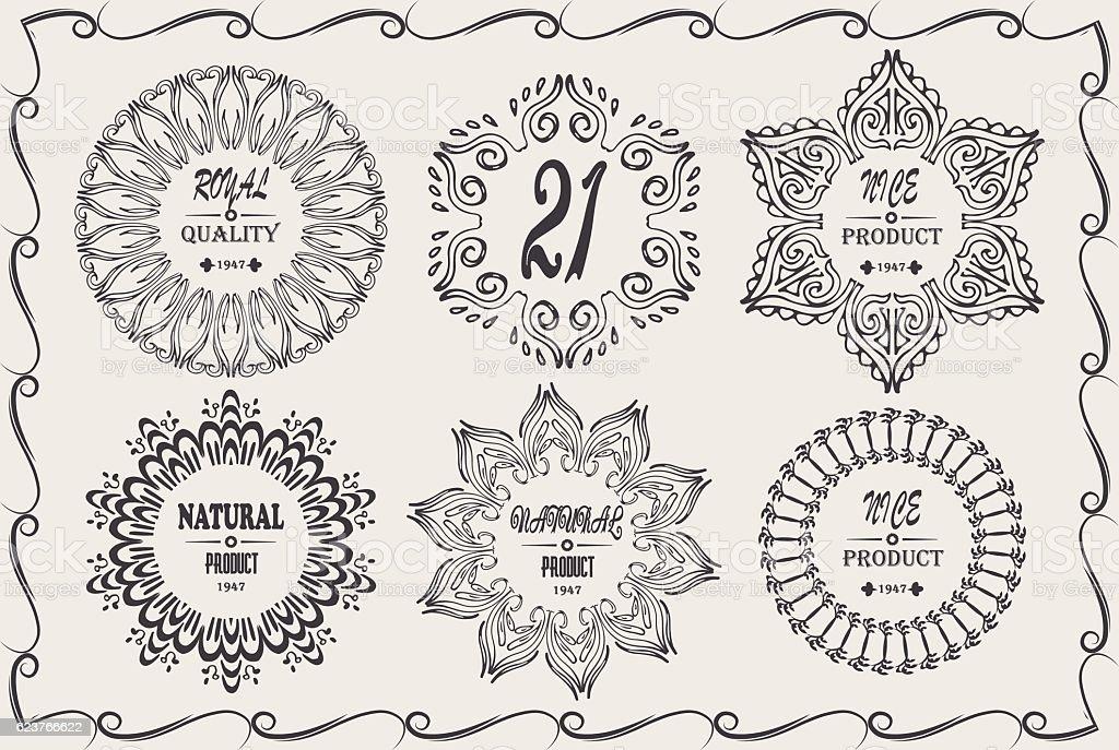 vintage cool elegant frames design elements with signature natural product royalty free stock vector art - Elegant Frames