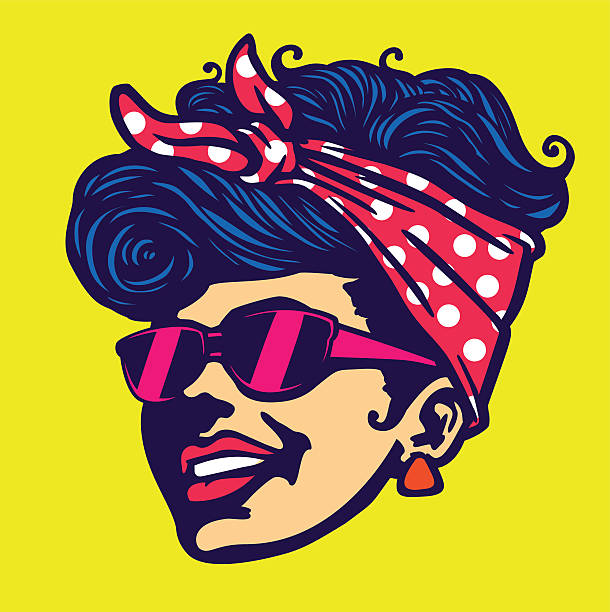 Vintage cool rockabilly hairstyle girl face with sunglasses vector illustration vector art illustration