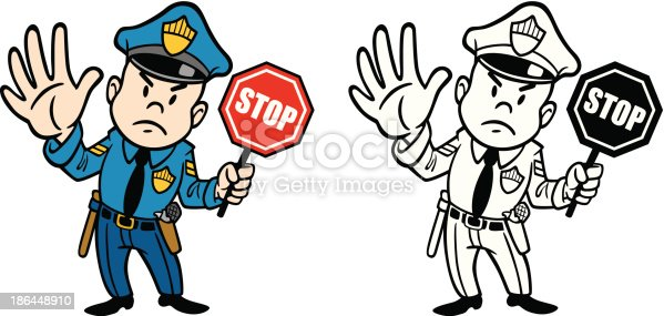 Great illustration of a policeman holding a stop sign. Perfect for a police or road safety illustration. EPS and JPEG files included. Be sure to view my other illustrations, thanks!