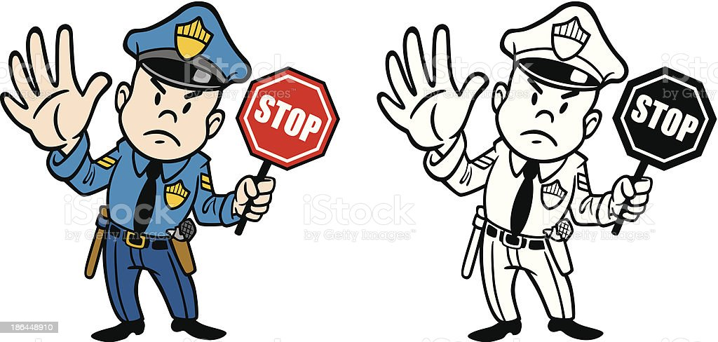 Vintage Cop WIth Stop Sign vector art illustration
