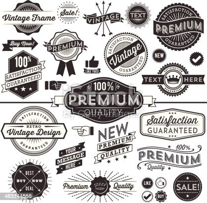 Set of vintage frames, banners, labels and ornaments.  Each design is grouped and colors are global for easy editing.