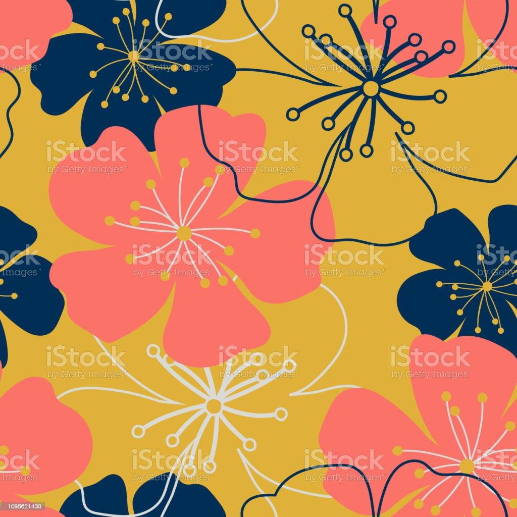 Vintage Coral Dark Blue Golden Flowers Shabby Chic Purple