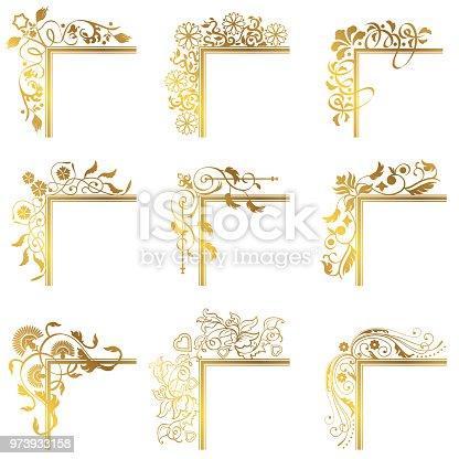 Beuautiful vector illustration with a collection of Vintage corners frames border flourish