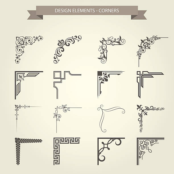 Vintage corner vignettes set - frame border flourish pattern vector art illustration