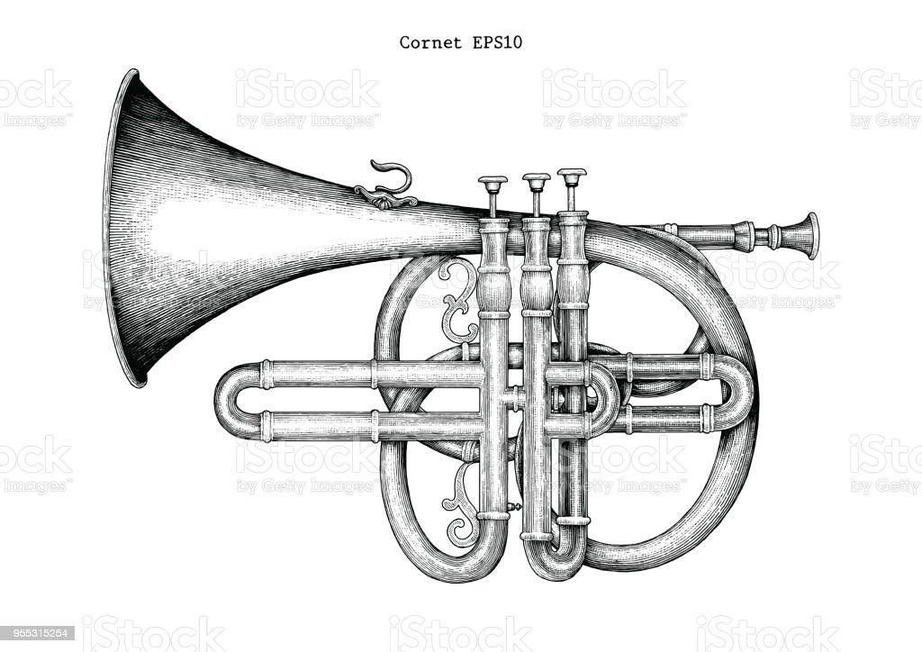 Vintage Cornet hand drawing engraving illustration,The classical music instrument vector art illustration