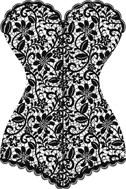 vintage corset Lace black vintage corset isolated on white corset stock illustrations