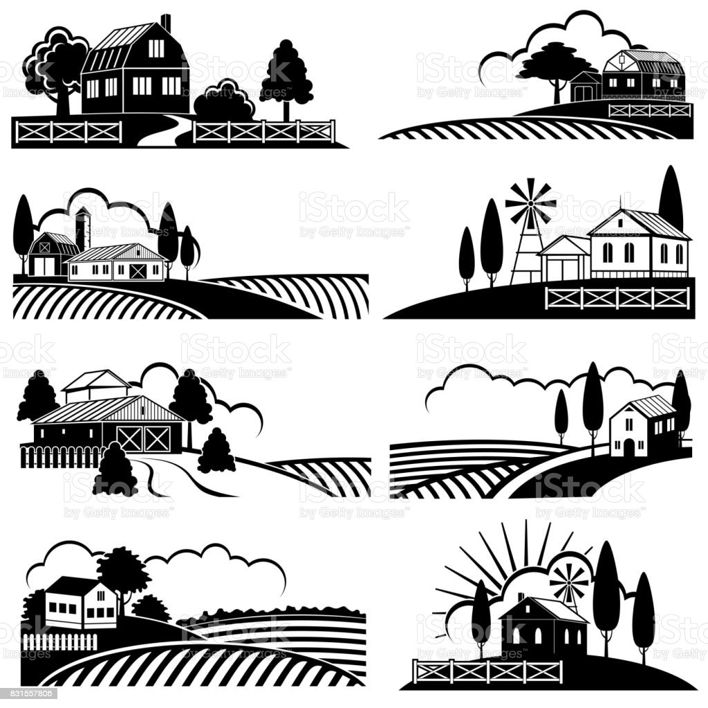 Vintage countryside landscape with farm scene. Vector backgrounds in woodcut style vector art illustration