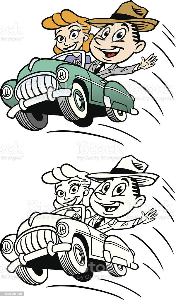 Vintage Couple In Car royalty-free stock vector art