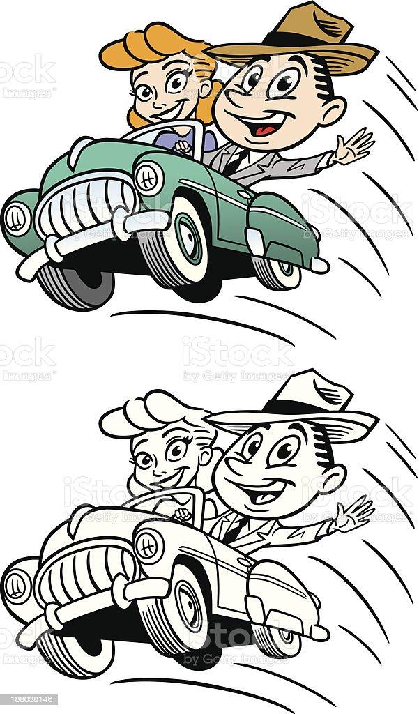 Vintage Couple In Car vector art illustration