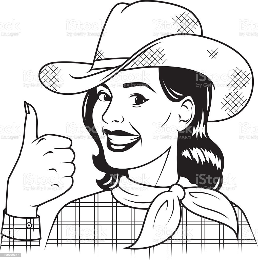 Vintage Cowgirl Giving The Thumbs Up Stock Illustration ...