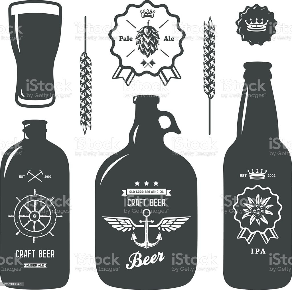 vintage craft beer brewery bottles label sign vector art illustration