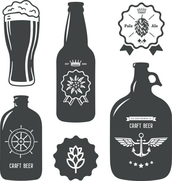 vintage craft beer brewery bottles label sign vector art illustration